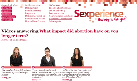 Screen from the Sexperience website