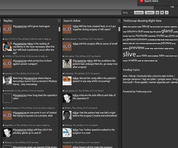 Surgery Live trending on Tweetdeck