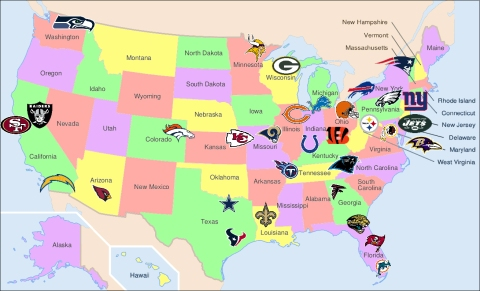 Map of American Football teams