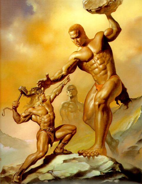 boris-vallejo-thor confronts giant