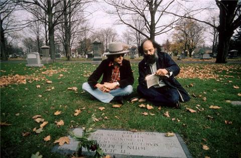 bob dylan and allen ginsberg at jack kerouac's grave