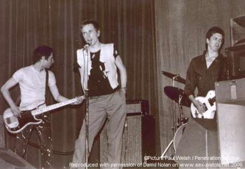 Johnny Rotten, Glen Matlock and Steve Jones - Sex Pistols at the Lesser Free Trade Hall, Manchester - 4th June 1976