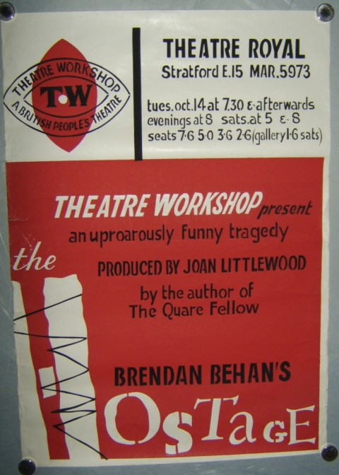 the hostage brendan behan thaeatre royal stratford east poster