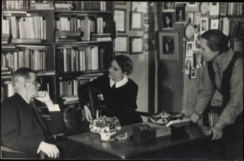 Sylvia Beach with James Joyce at Shakespeare & Co., Paris 1920