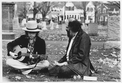 Ginsberg and Dylan at Jack Kerouac's grave