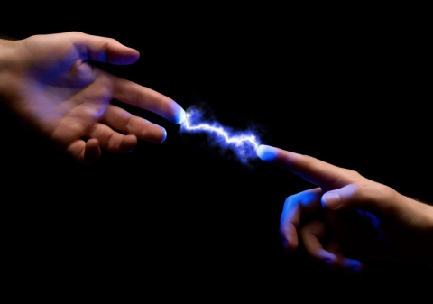 Spark between fingers