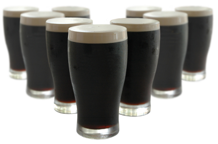 pints of stout in a triangle