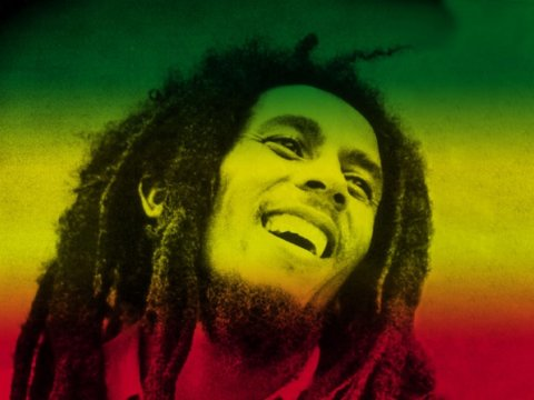 bob marley smiling green yellow red