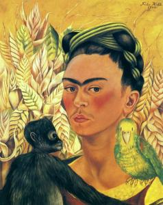 Self-portrait with monkey and parrot frida kahlo 1942