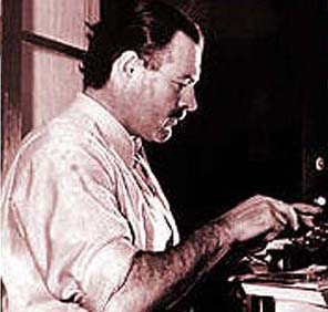 ernest hemingway writer at typewriter