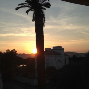 view from the hotel grand pavois  juan les pins sunset