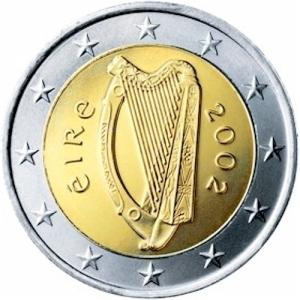 irish harp on euro coin