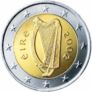 irish harp on euro coin