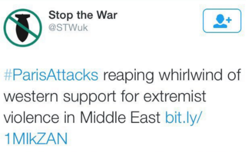 tweet published by Stop The War on the night of 13th November 2015