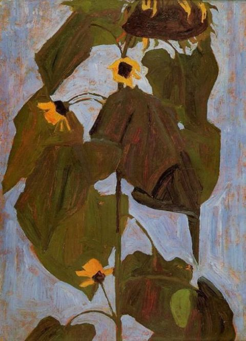 1908-sunflower-egon-schiele painting