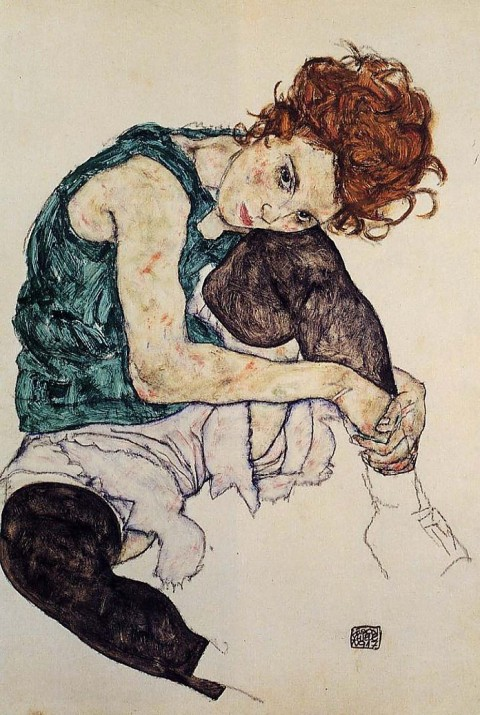 Egon Schiele painting Sitting Woman with Legs Drawn Up, 1917