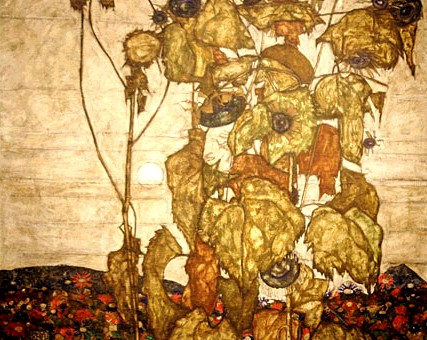 egon_schiele_wilted_sunflowers painting 1914