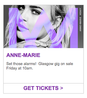 anne-marie concert advertisement