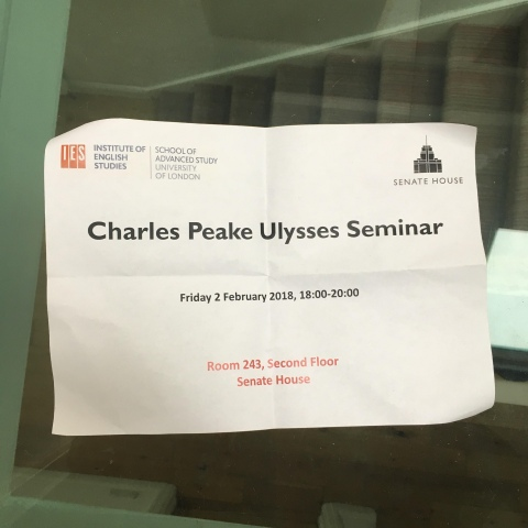 sign for Charles Peake ulysses seminar university of london senate house