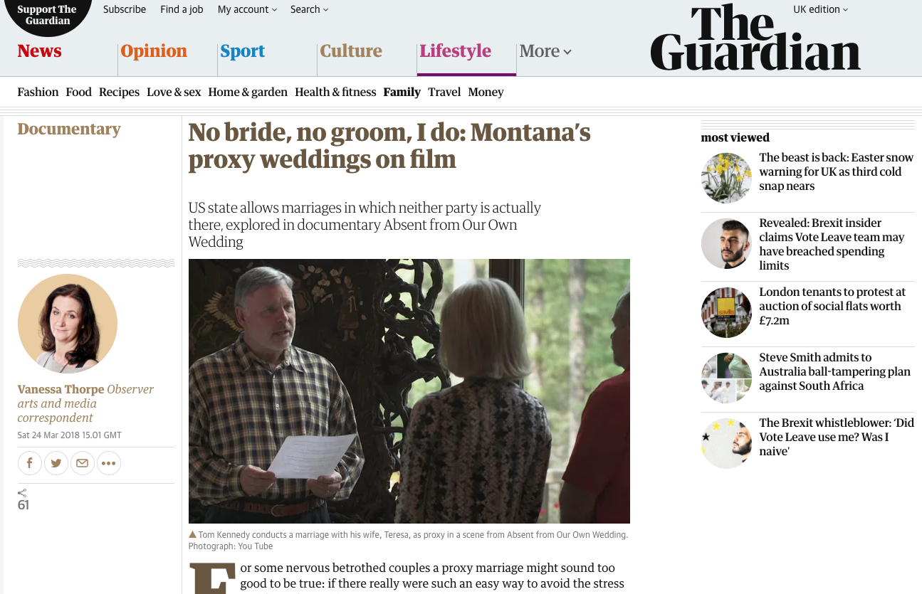 No bride no groom I do Montana's proxy weddings on film article 24 march 2018 The Observer The Guardian