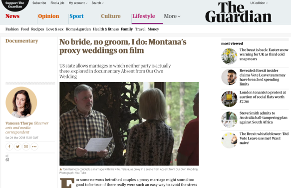 Absent from Our Own Wedding – The Observer / The Guardian