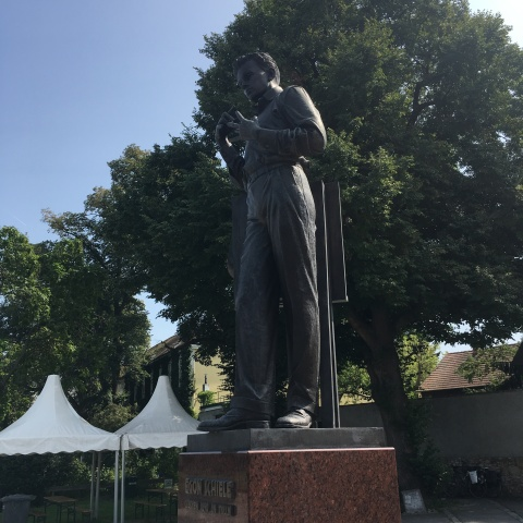 statue of Egon Schiele outside the Egon Schiele Museum Tulln Austria