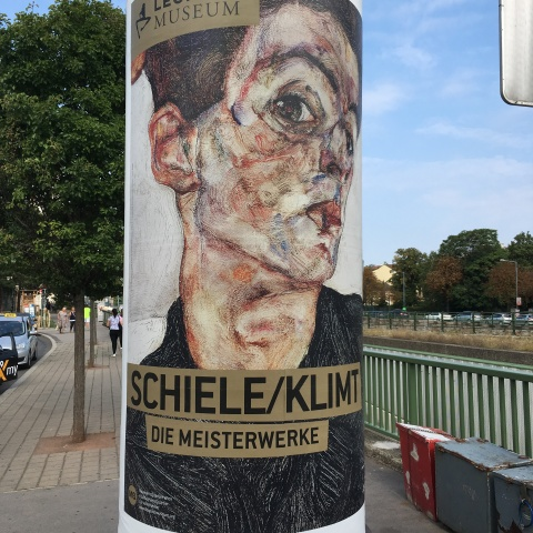 advertisement poster for leopold museum schiele klimt august 2017