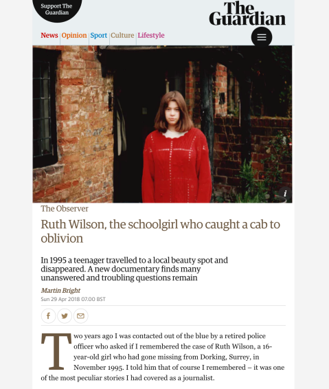 Ruth Wilson, the schoolgirl who caught a cab to oblivion The Observer martin bright 2018-04-29
