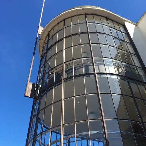 De La Warr Pavilion, Bexhill-on-Sea, East Sussex - exterior staircase landside