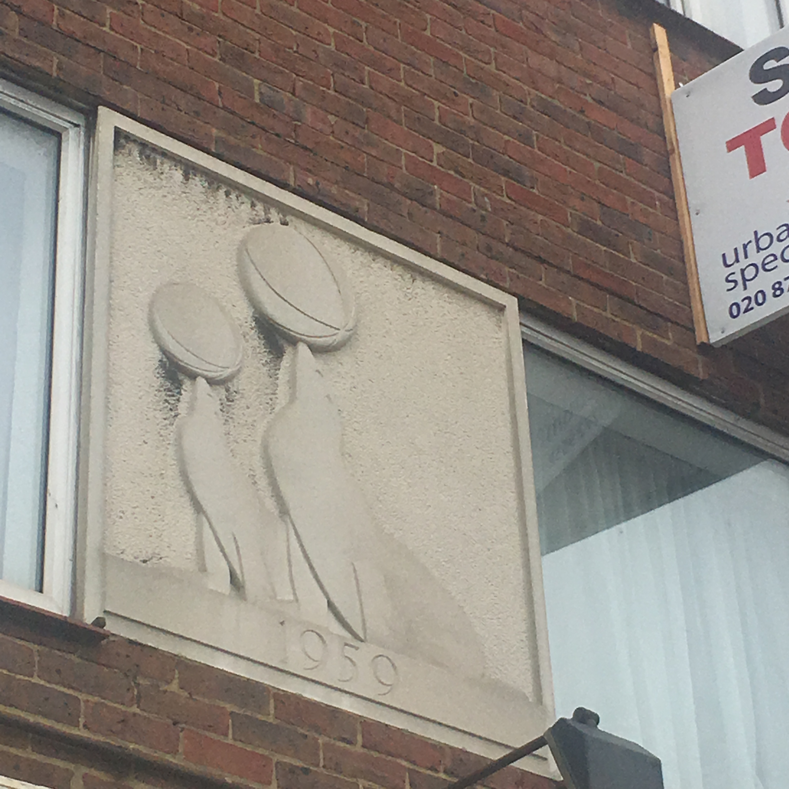 sealion bas relief apex corner mill hill london NW7 northway circus