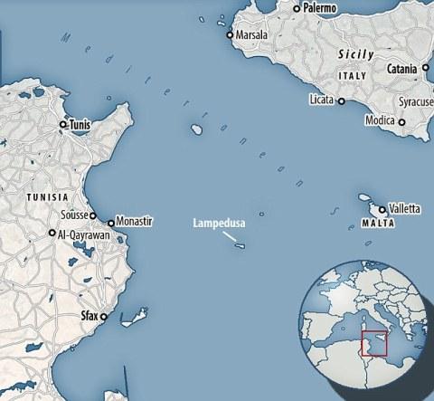 map lampedusa sicily tunisia