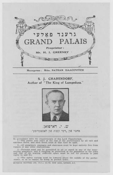 grand palais yiddish theatre programme king of lampedusa sj charendorf