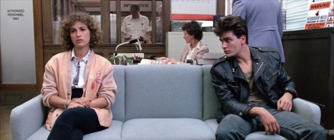 Charlie Sheen and Jennifer Grey in Ferris Bueller's Day Off (1986)