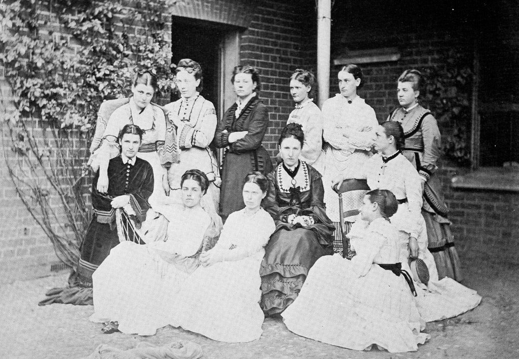 Students at Benslow House, Hitchin, in 1872. In 1873 it reopened just outside Cambridge and became Girton College.