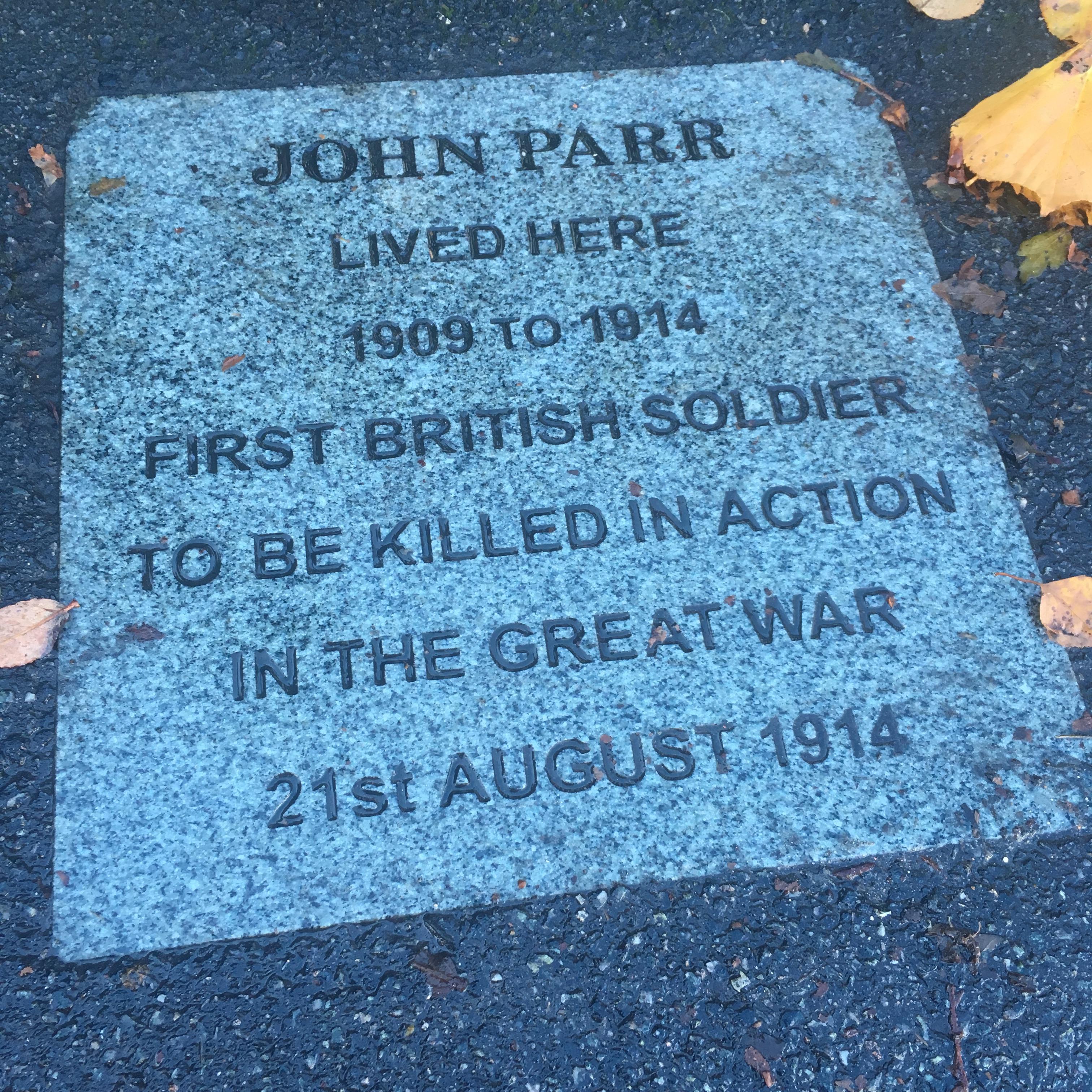 John Parr WW1 soldier plaque Finchley London N12