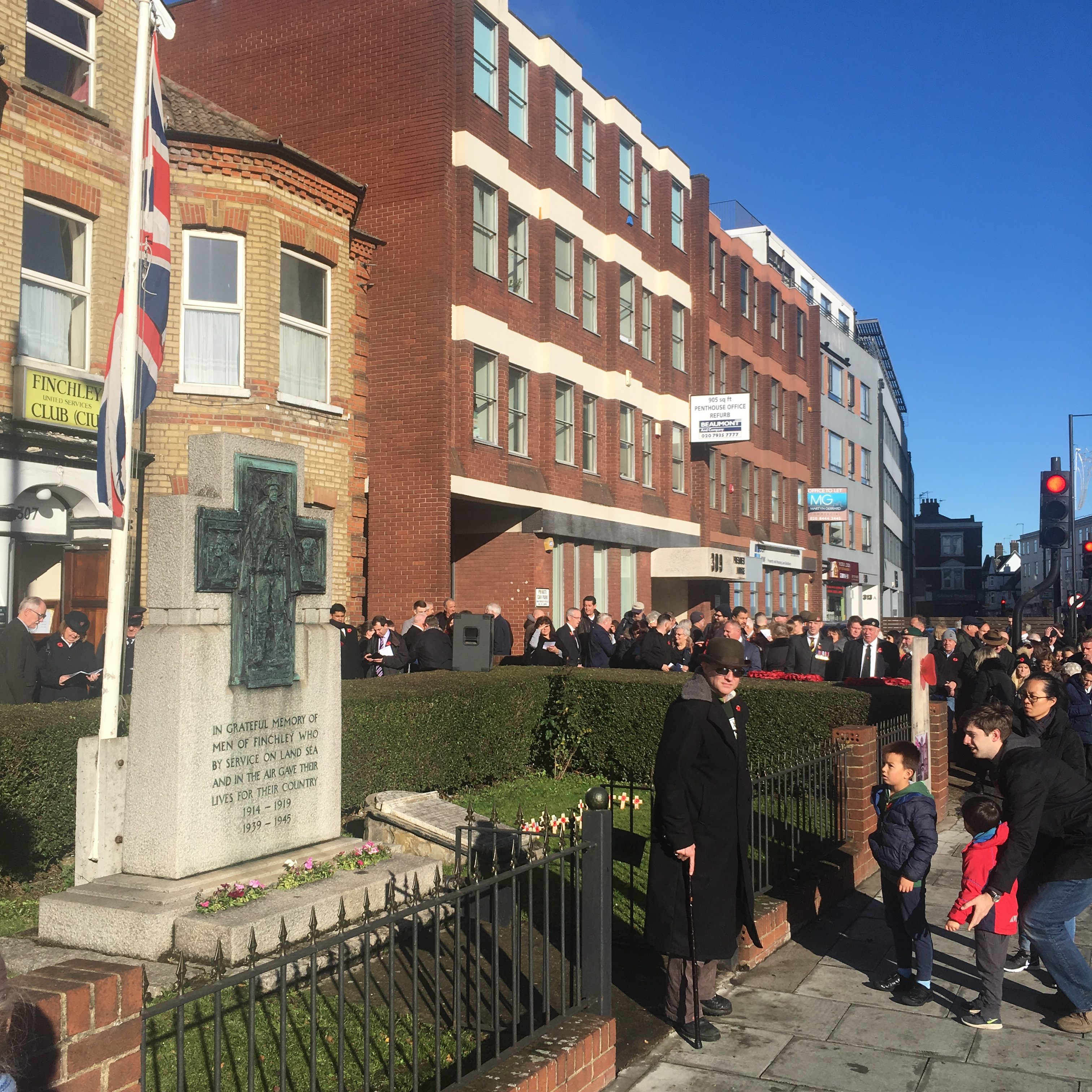 Finchley War Memorial remembrance service 2018