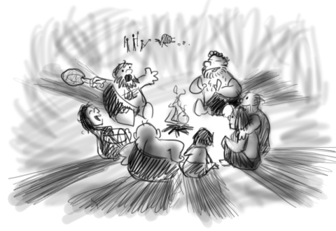 Cavemen at camp fire telling stories cartoon