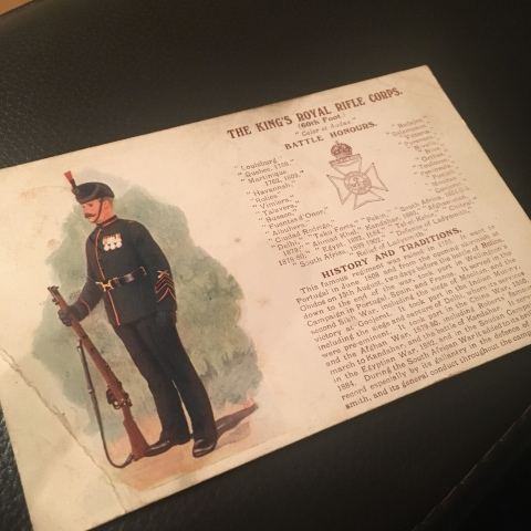old postcard 1914 WW1 kings royal rifle corps