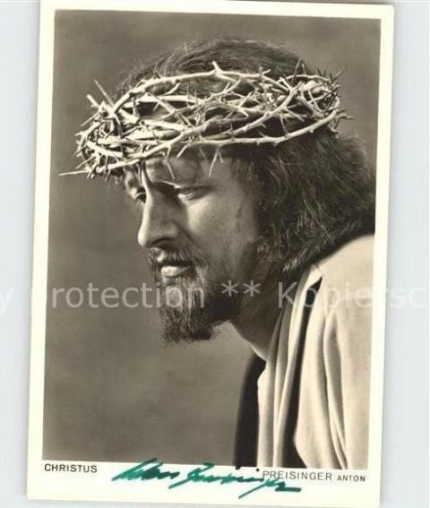 ak-ansichtskarte-passionsspiele-oberammergau-christus-anton-preisinger-autogramm-kat-events prob 1950 postcard jesus christ