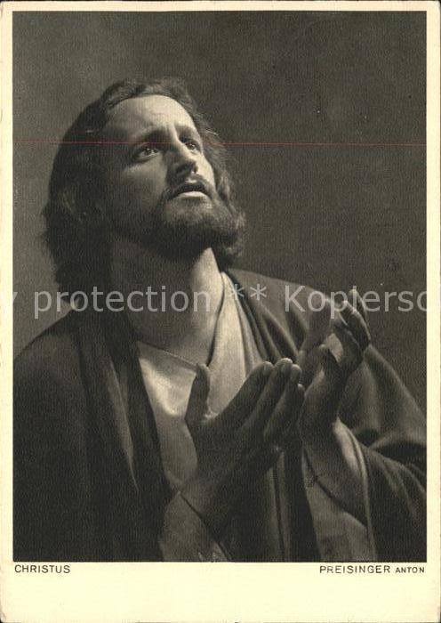 ak-ansichtskarte-passionsspiele-oberammergau-christus-preisinger-anton-kat-events prob 1950 postcard jesus christ