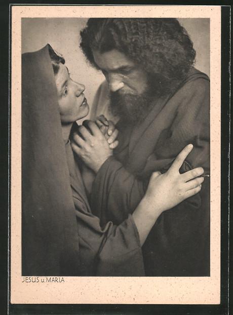 ansichtskarte oberammergau, passionsspiele 1930, jesus und maria mary postcard