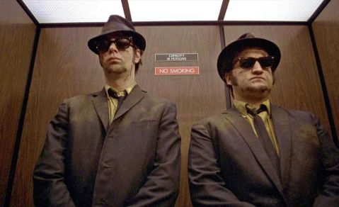 blues brothers in elevator lift