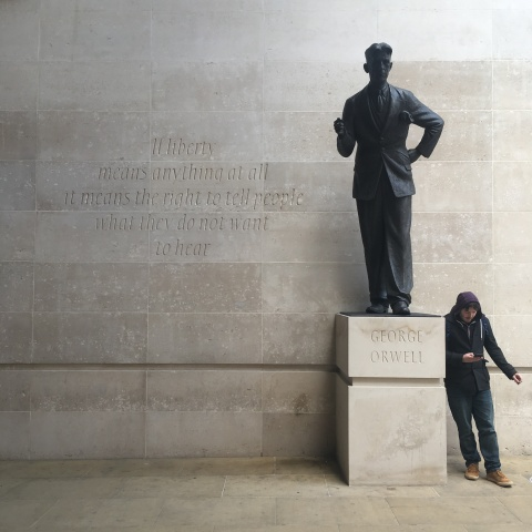 statue of george orwell outside the BBC (New Broadcasting House, Portland Place, London)