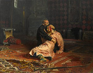 ivan the terrible & his son ivan by Ilya Repin (1883 - 1885) russian painting
