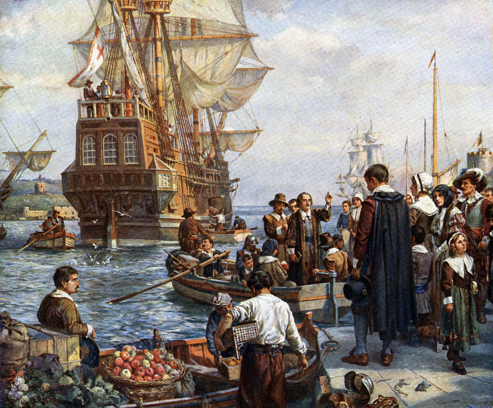 pilgrim fathers boarding the mayflower painting by bernard gribble