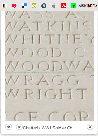 Charles William Whitney on the Thiepval memorial