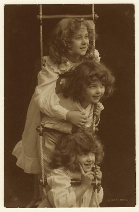 three-girls-ladder-postcard H. Traut of Munich