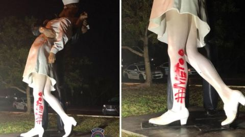unconditional surrender sculpture statue vandalism metoo