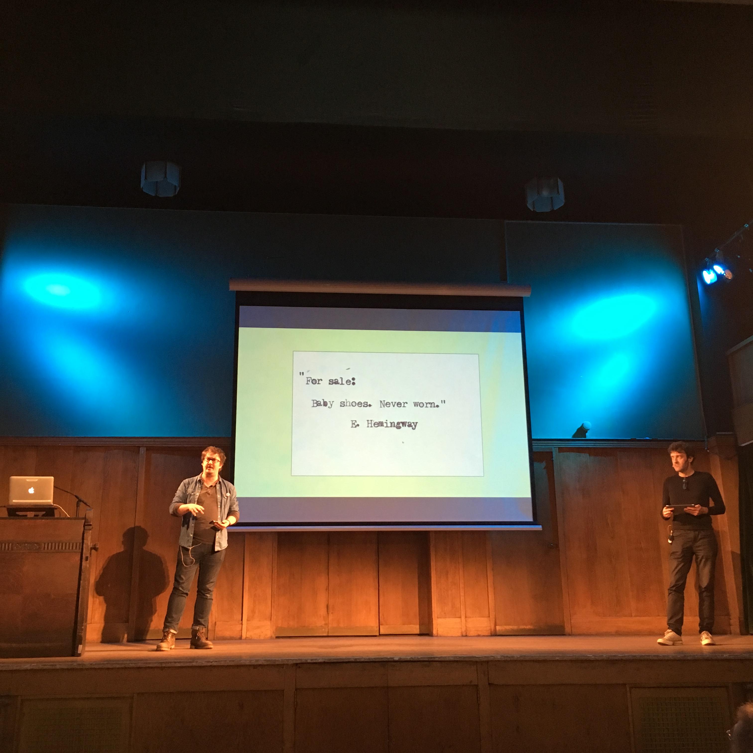 Joel Morris & Jason Hazeley at The Story 2019 conway hall london