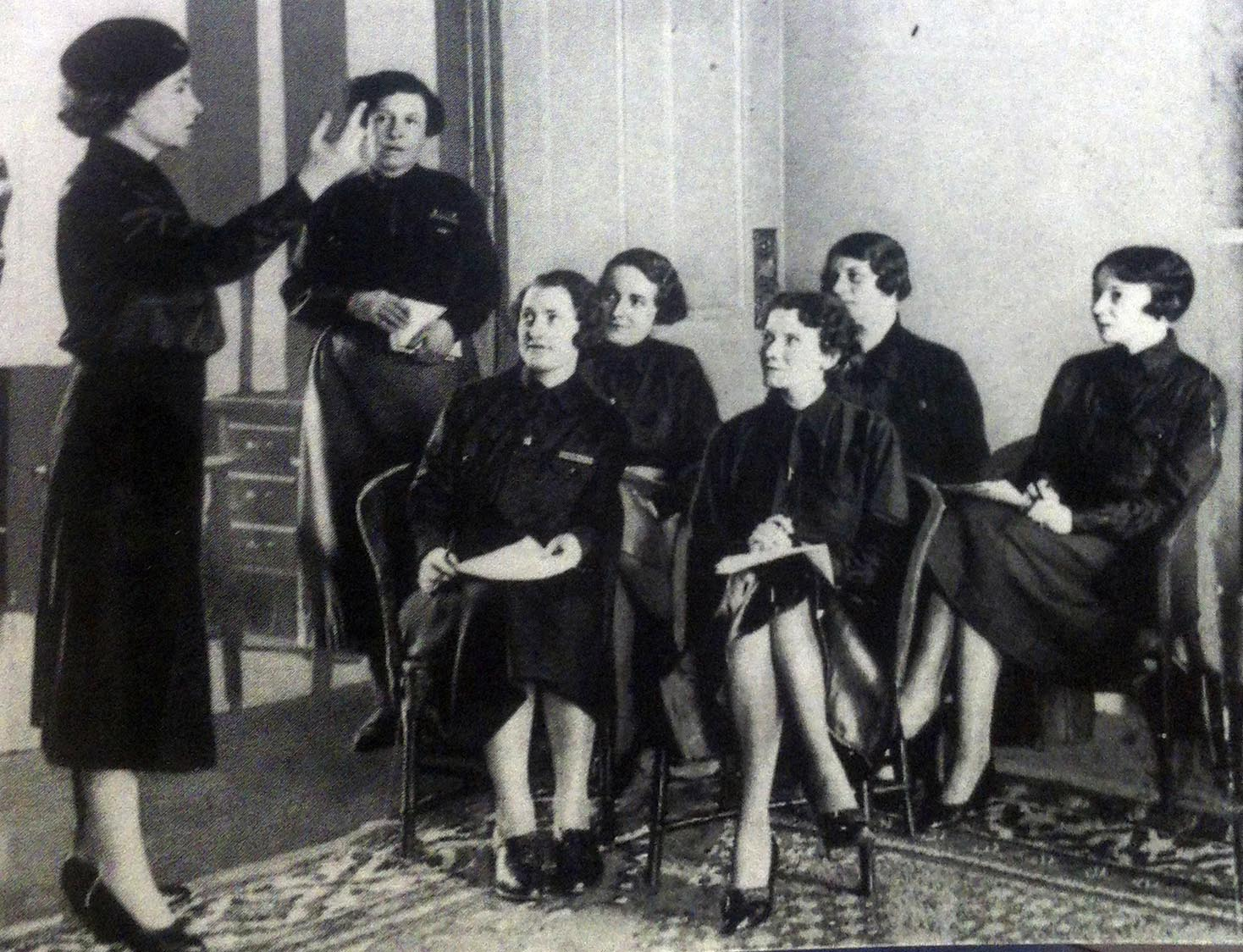 Training at the Women's BUF HQ. Mary Richardson is standing at the back.